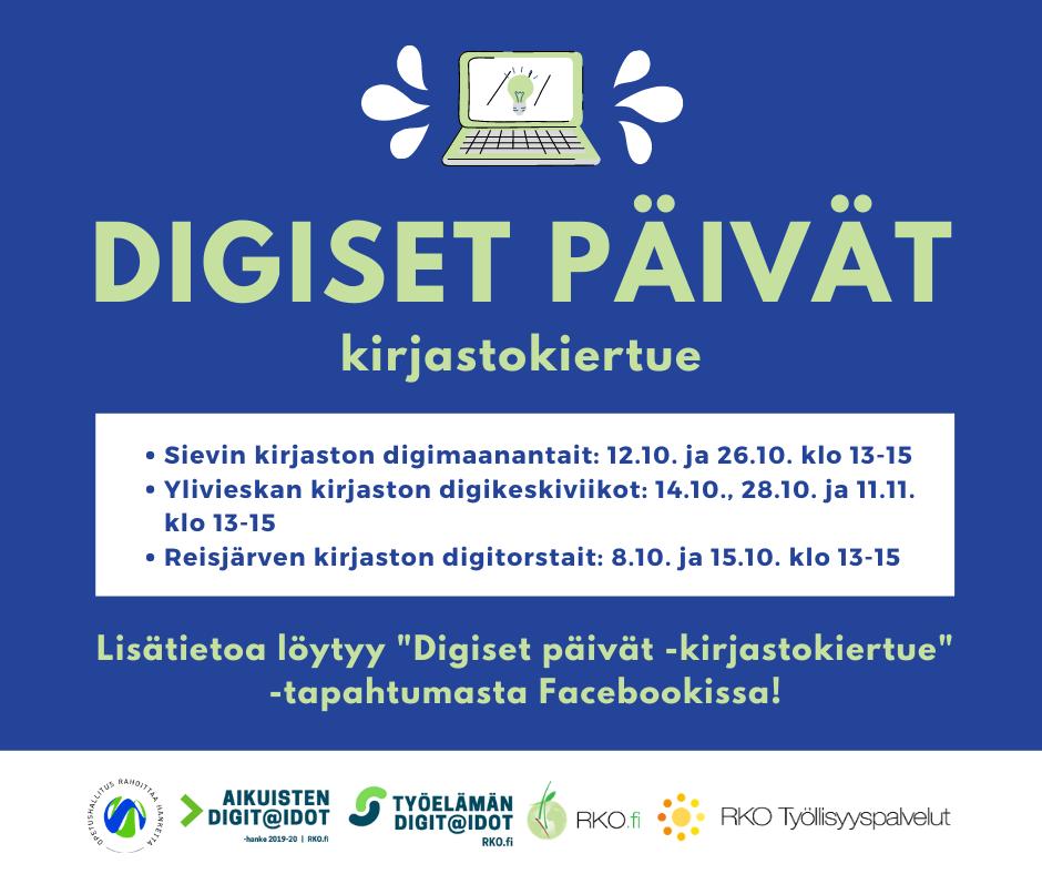 Digiset päivät -kirjastokiertue Sievi, Ylivieskan ja Reisjärven kirjastoissa syksyllä 2020n