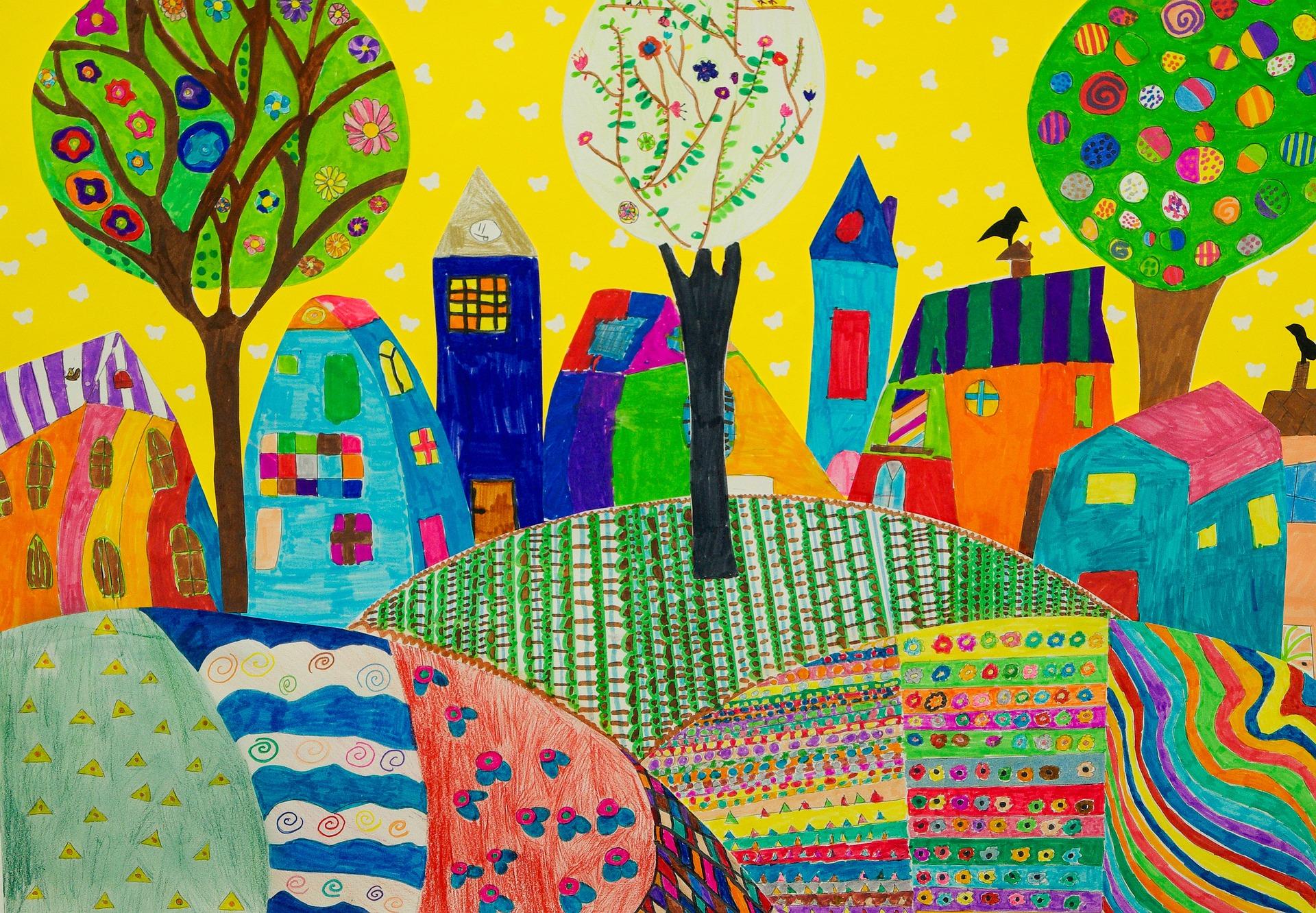 Lasten piirustus, kaupunki