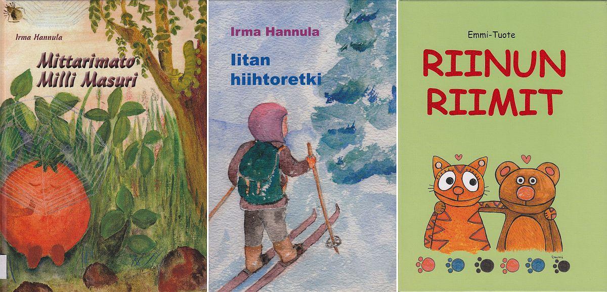 Kuvakollaasi kolmesta Irma Hannulan lastenkirjasta