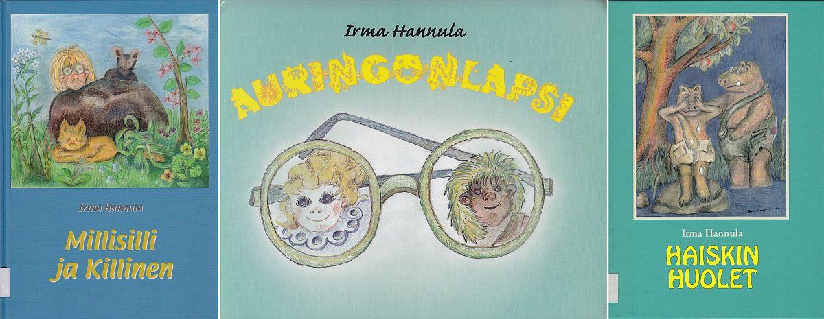 Kuvakollaasi Irma Hannulan kolmesta lastenkirjasta.