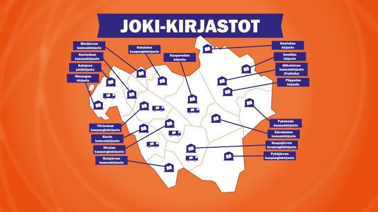 Kartta Joki-kirjastojen toimipisteistä