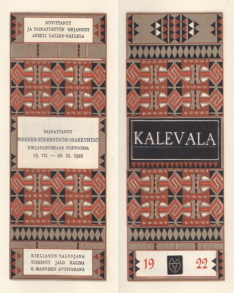 Akseli Gallen-Kallelan kuvittaman vuonna 1922 ilmestyneen Kalevalan ornamenttisomisteiset nimiölehdet.