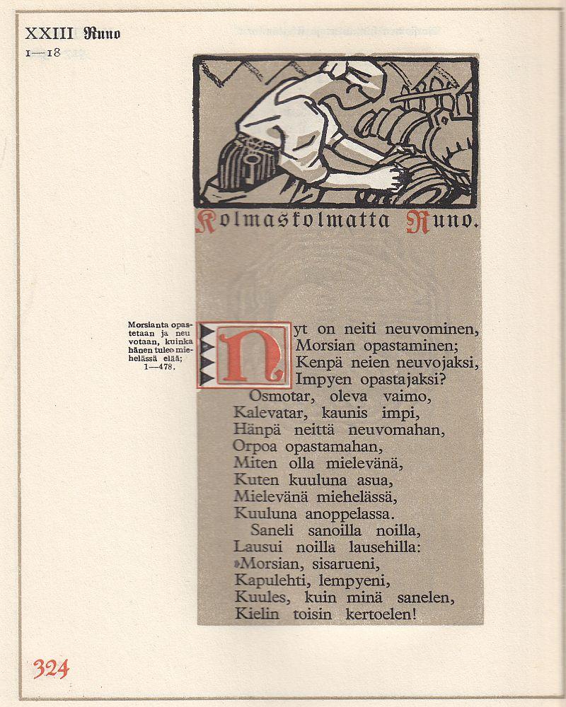 Esimerkkisivu Gallen-Kallelan kuvittamasta Kalevalasta