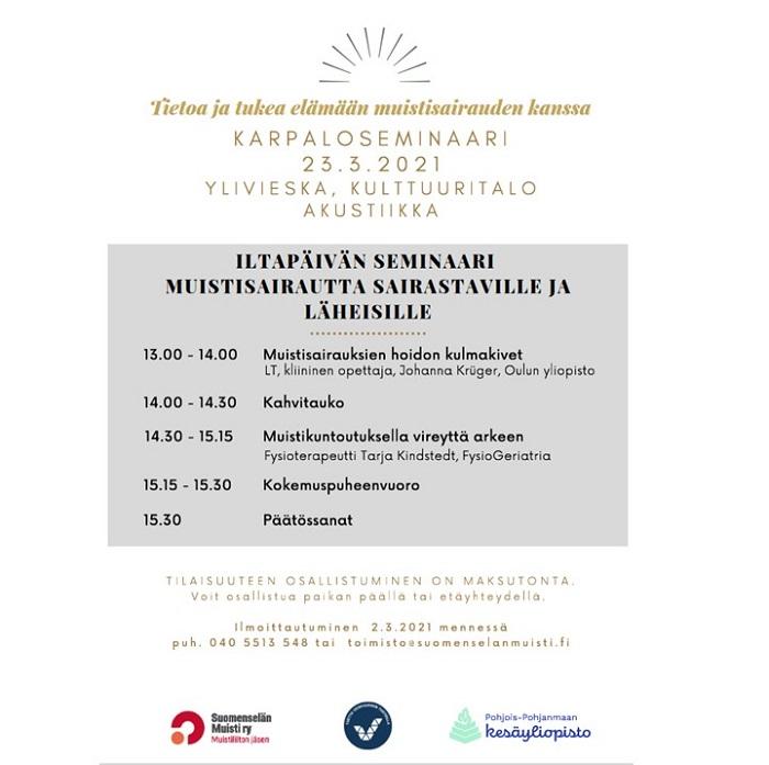 Karpaloseminaari 2021 - Maksuton seminaari muistisairaille ihmisille ja läheisille