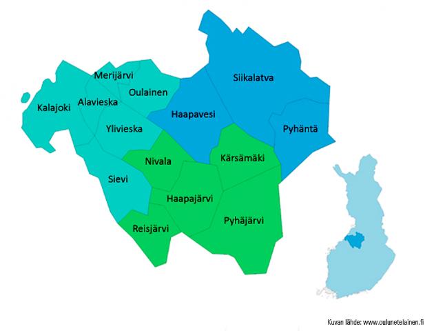 JOki-kirjastojen alueen kartta